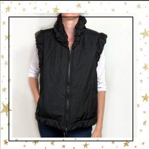 Lafayette 148 Ruched Puffer ruffle Vest Black (C6)